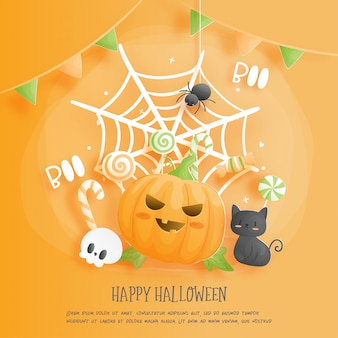 Feliz halloween con gato y calabaza.