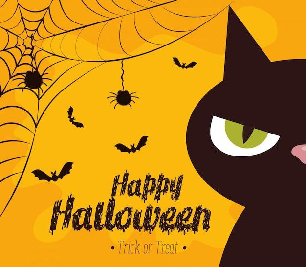 Feliz halloween con gato negro