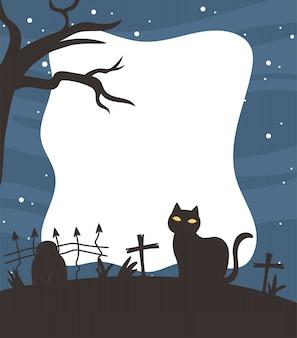 Feliz halloween, gato oscuro cementerio valla cruz árbol estrellas cielo noche truco o trato fiesta fondo vector ilustración