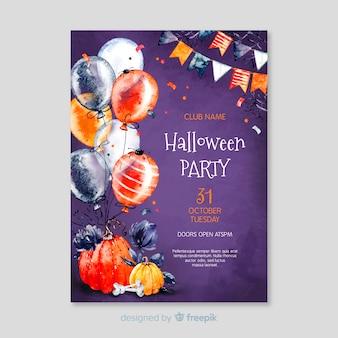 Feliz halloween globos nerd fantasma con gafas flyer de fiesta