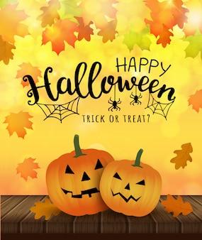 Feliz halloween. ilustración de trrick o treat con calabazas y tela y araña.