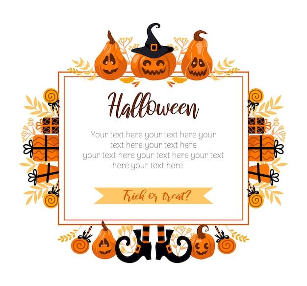 Feliz halloween ilustración vectorial brillante. calabaza jack-o-lantern, sombrero de bruja, medias de rayas, piruleta. para pegatinas, postales, pancartas, folletos. colores otoñales amarillo-naranja.