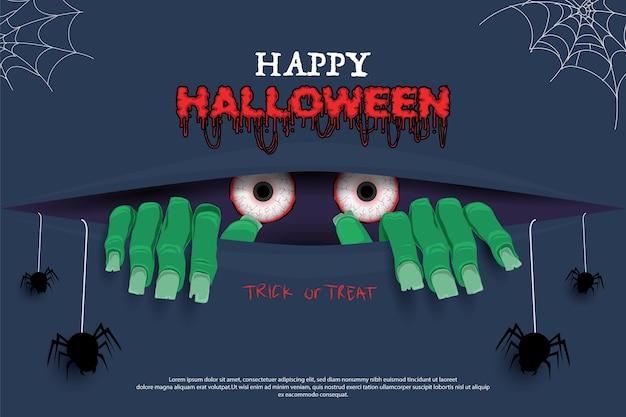 Feliz halloween. ilustración de zombie espeluznante
