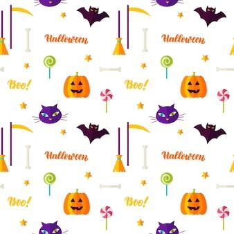 Feliz halloween imprimir patrones sin fisuras. ilustración de vector. truco o trato.