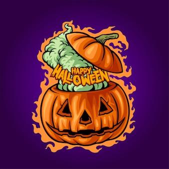 Feliz halloween jack o'lantern ilustración