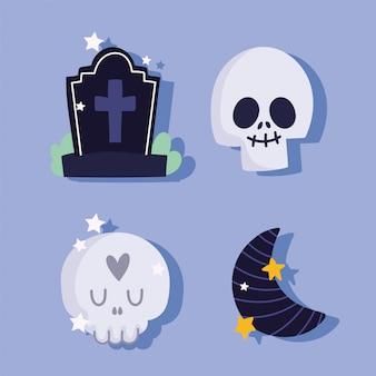 Feliz halloween, lápida de calavera y media luna truco o trato fiesta celebración ilustración vectorial