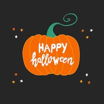 Feliz halloween. letras blancas escritas a mano en calabaza naranja con estrellas de doodle sobre fondo gris oscuro.