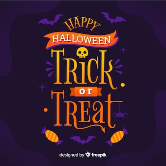Feliz halloween letras con calavera