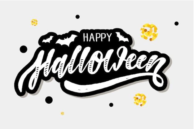 Feliz halloween letras caligrafía cepillo texto vacaciones