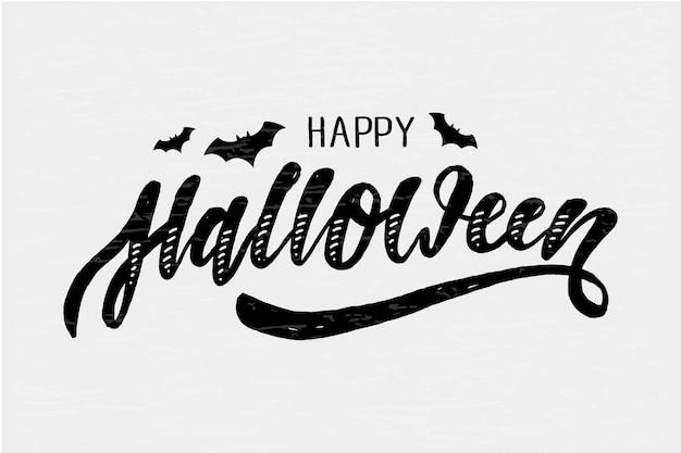 Feliz halloween letras caligrafía pincel texto vacaciones etiqueta oro