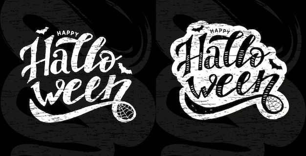 Feliz halloween letras caligrafía pincel texto vacaciones vector pegatina