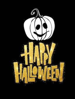 Feliz halloween letras. caligrafía de vacaciones para pancarta, póster, tarjeta de felicitación, invitación a una fiesta. ilustración de vector eps10