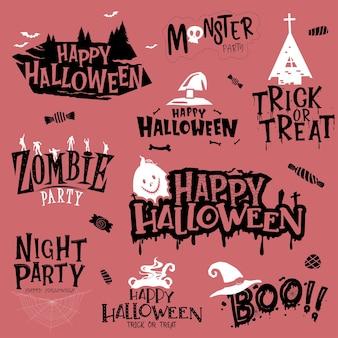 Feliz halloween letras caligrafía