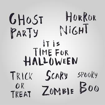 Feliz halloween letras dibujadas a mano. la ilustración del vector se puede utilizar para el papel pintado, la página web, la tarjeta del día de fiesta, la invitación y el diseño del partido.