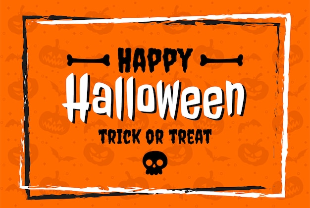 Feliz halloween en letras de diseño plano sobre fondo naranja