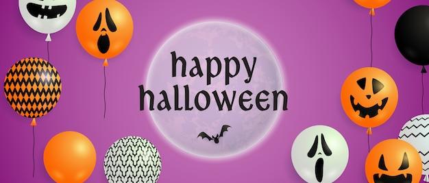 Feliz halloween letras en luna con globos