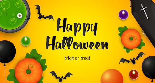 Feliz halloween, letras de truco o trato, caldero y murciélagos