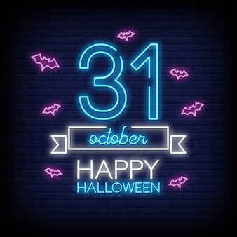 Feliz halloween en letreros de neón
