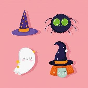Feliz halloween, linda bruja araña fantasma y hat trick or treat fiesta celebración ilustración vectorial