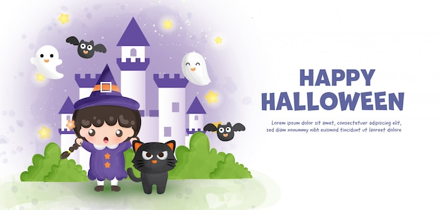 Feliz halloween con linda bruja y castillo en estilo color agua.
