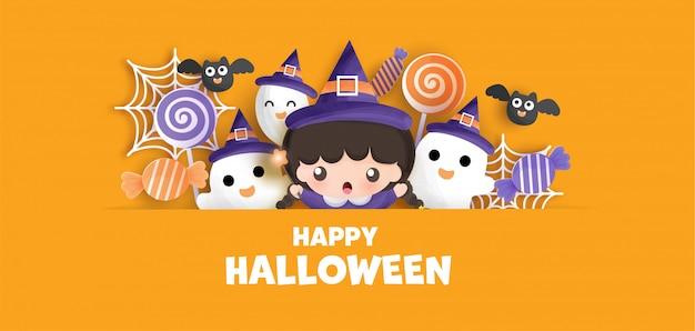 Feliz halloween con linda bruja y fantasma.