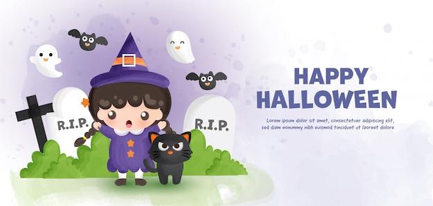 Feliz halloween con linda bruja y gato negro en estilo de color de agua.