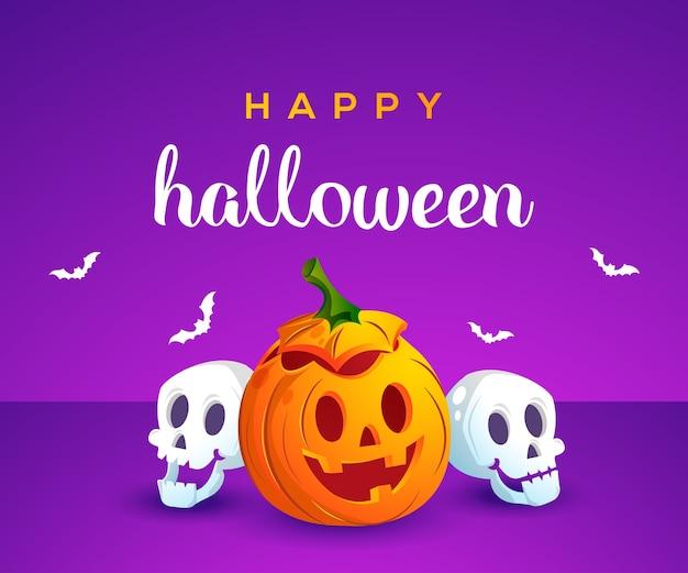 Feliz halloween con linda calabaza y calavera