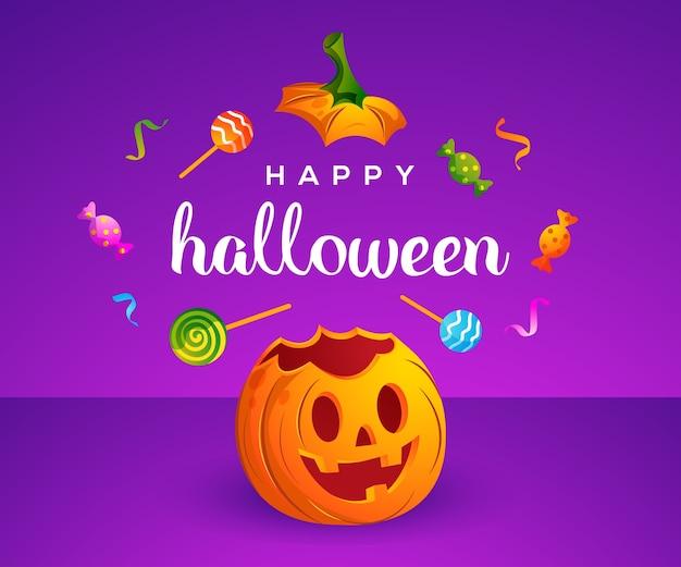 Feliz halloween con linda calabaza y dulces