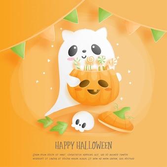 Feliz halloween con lindo fantasma y calabaza.
