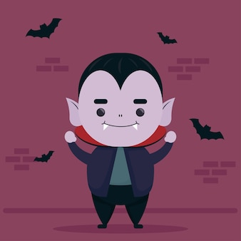 Feliz halloween lindo personaje de drácula y murciélagos volando