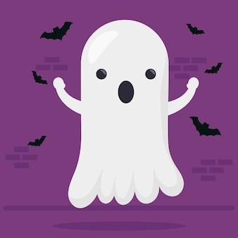 Feliz halloween lindo personaje fantasma y murciélagos volando