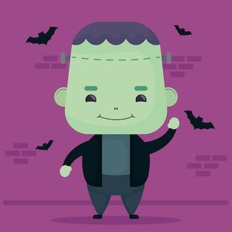 Feliz halloween lindo personaje de frankenstein y murciélagos volando