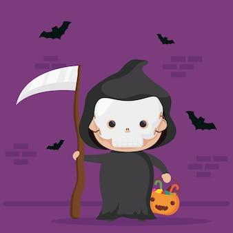 Feliz halloween lindo personaje de muerte y murciélagos volando