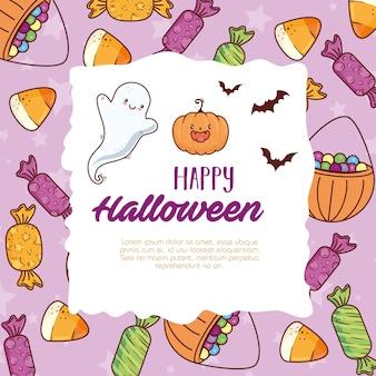 Feliz halloween con lindos iconos