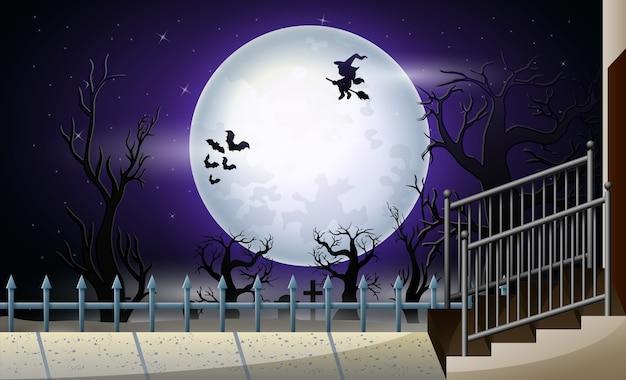 Feliz halloween con luna llena en la noche.