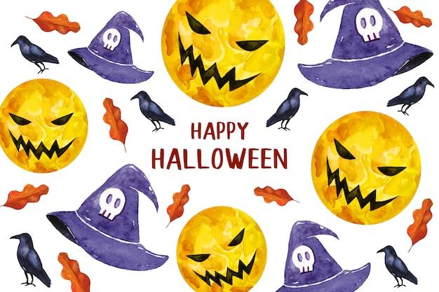 Feliz halloween con luna de miedo y sombreros tarjeta de felicitación en estilo acuarela