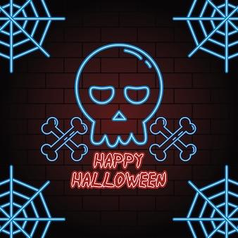 Feliz halloween luz de neón de la cabeza del cráneo, diseño de ilustraciones vectoriales