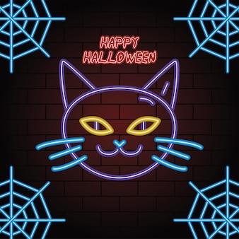 Feliz halloween luz de neón de cabeza de gato, diseño de ilustraciones vectoriales