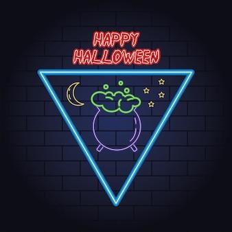 Feliz halloween luz de neón de caldero, diseño de ilustraciones vectoriales