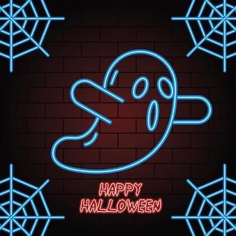 Feliz halloween luz de neón de diseño de ilustración de vector de fantasma