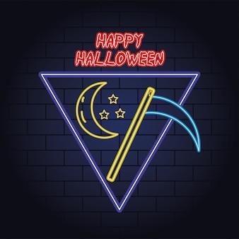 Feliz halloween luz de neón de la muerte guadaña, diseño de ilustraciones vectoriales