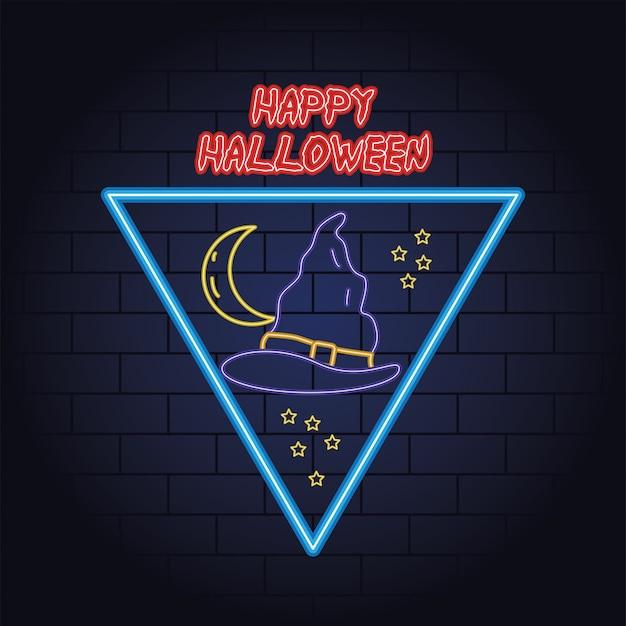 Feliz halloween luz de neón de sombrero de bruja, diseño de ilustraciones vectoriales