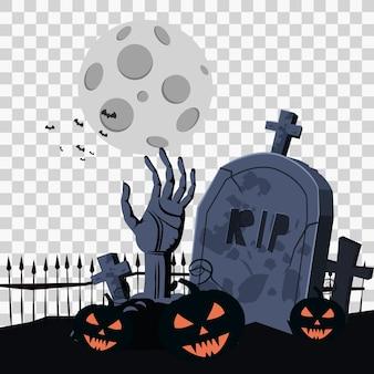 Feliz halloween con mano zombie cementerio calabazas murciélagos spooky