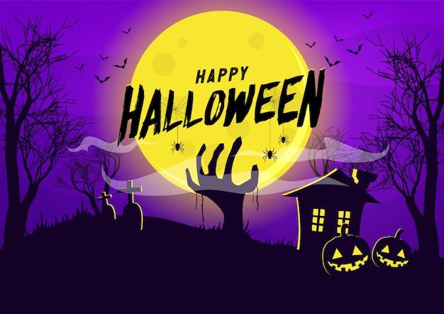 Feliz halloween con mano de zombie en noche de luna llena.