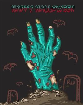 Feliz halloween con la mano de zombie subiendo de la tumba con murciélagos malvados en el fondo