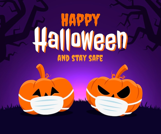 Feliz halloween y mantente seguro concepto. dos calabazas con mascarilla a causa del coronavirus