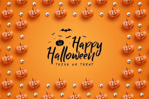 Feliz halloween con marco de fondo de calabaza de miedo
