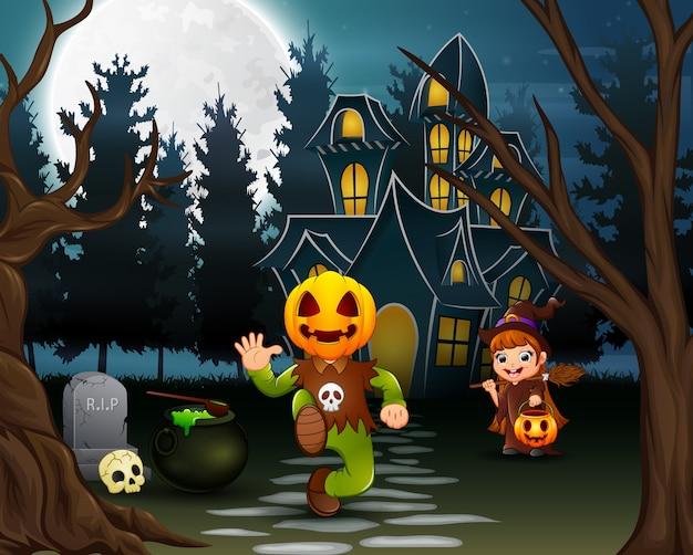 Feliz halloween con máscara de calabaza y bruja