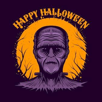 Feliz halloween mascor personaje ilustración noche tema