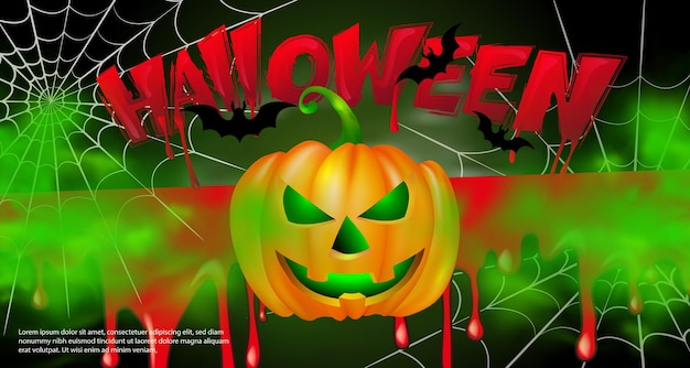 Feliz halloween miedo jack-o'-lantern murciélago araña y texto de diseño tipográfico sangriento